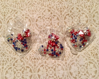 48mm Minnie Patriotic Rhinestone Pendants