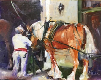 "original oil painting-Charleston carriage horse and driver//12x9""/home decor//wall art//impressionist//south carolina"