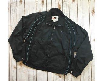 Vintage Nike Windbreaker,  Black Teal Piping Size Large 12-14, Vintage Nike Jacket, 90s Nike, Vintage Athletic Wear, 90s Streetwear Clothing