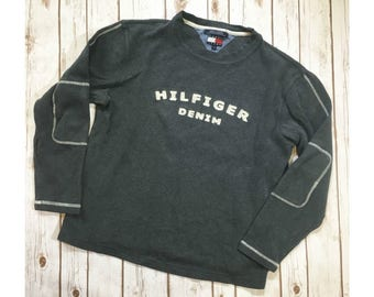 Vintage Tommy Hilfiger Shirt, 90s Tommy Hilfiger Sweater, Long Sleeved Tommy Jeans Hilfiger Denim Dark Gray Top, Size Medium, 90s Clothing