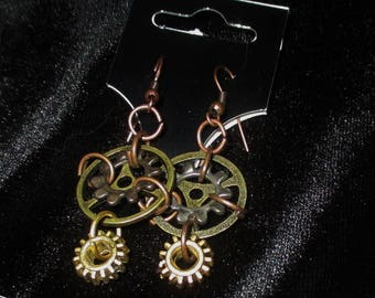 Cool Unique Gothic Steampunk Gear Hook Earrings