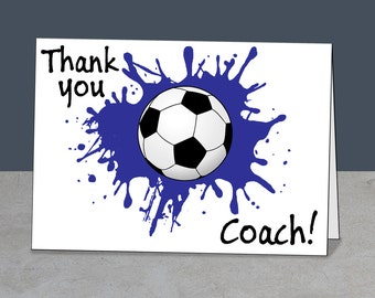 Soccer Thank You, Soccer Coach Card, Coach Gift, Instant Download, Printable Soccer, Soccer, Soccer Ball, Thank You Coach