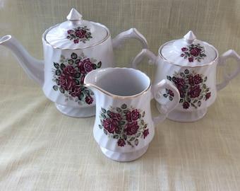 Vintage Wood and Sons Rosewood Alpine white tea set teapot sugar creamer roses flowers pattern