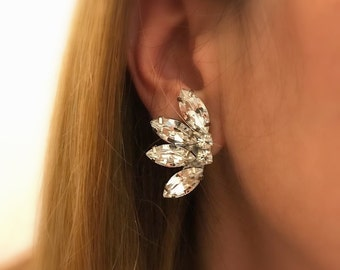 bridesmaids Vintage Style crystal Earrings, Clear swarovski bridal Clip On earrings, Wedding Clip On swarovski earrings, sparkly earrings