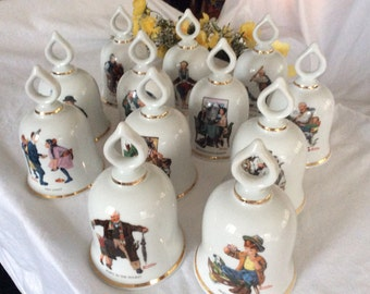 Norman Rockwell Bells Complete Collectible Set of 12  Danbury Mint 1979