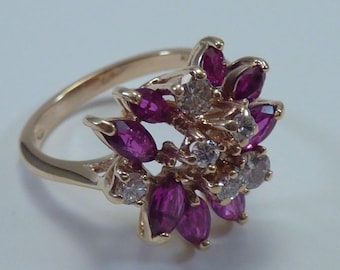 14K Yellow Gold Ruby and Diamond Ring, 4.9 grams, size 7.5