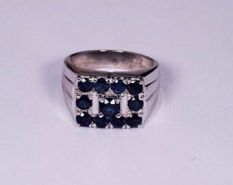 14K White Gold Mens sapphire Ring, Size 8.5