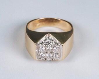 14K Yellow Gold Mens .50 ct. tw. Diamond Ring, Size 9.25
