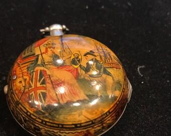 1787 Revolutionary War Era Pocket Watch, extraordinary hand painted outer case