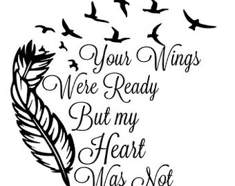 Items similar to 4 glass ornament your wings were ready for Your wings were ready but my heart was not tattoo