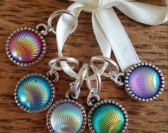 5 Knitting stitch markers. Iridescent  shells