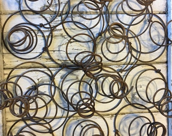 Rusty Bed Spring Vintage Steel Coiled Spiral Tornado Mattress Springs, Ornament Hanger Craft Supply, Farmhouse Chic, Item #499905399