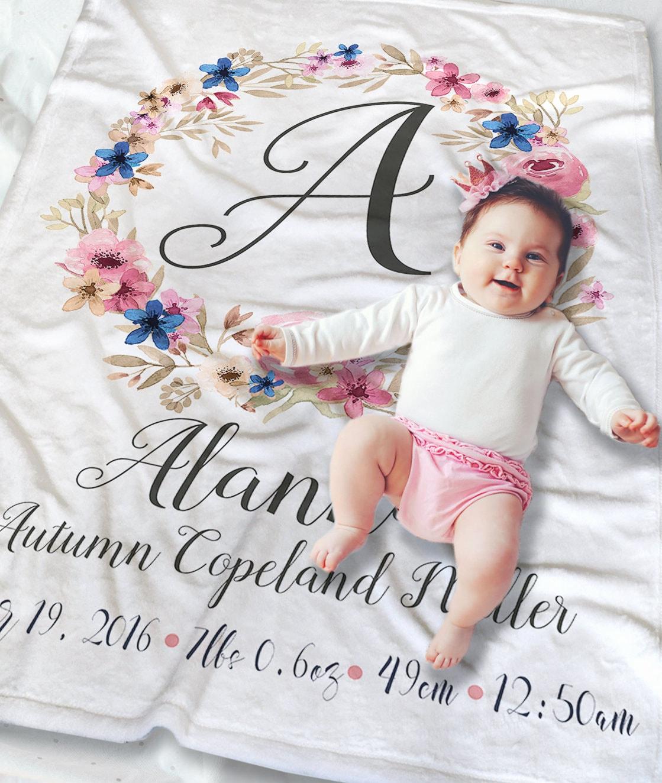 Baby Monogrammed Blanket Baby Name Blanket Newborn Baby