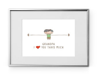 Grandpa art wall, I love you Thiiis Much, cute gift for grandpa, printable art, boy hand drawn, wall art instant download 8x10, home décor