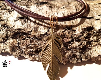 Leather Choker ~ golden feather ~.