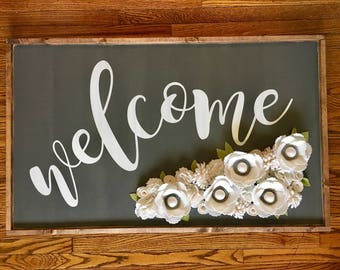 "Large Welcome Sign with Felt flowers - Farmhouse Decor - Rustic Decor - 24""x40"""
