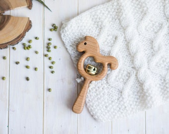 Rattle with Bell. Organic Wooden Teething Toy. Horse Rattle. Natural Wooden Toy. Eco Friendly Infant Toy. Newborn gift.