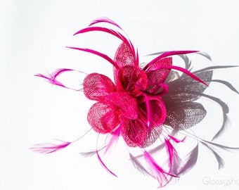 Pink  Flower Feather  Fascinator Clip