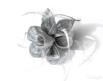 Silver  Flower Feather  Fascinator Clip