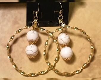 Beaded Twisted Hoop Earrings
