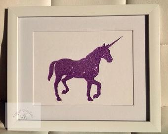 """10"""" x 8"""" - Unicorn Glitter Silhouette Picture"""