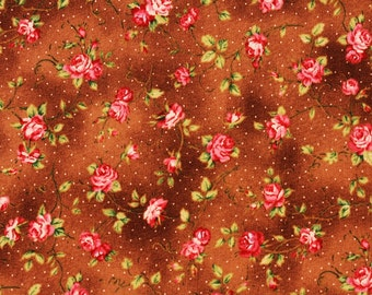 Floral patterned Fabric Shabby Rose printed Fabric Flower Fabric made in Japan by the Half Yard