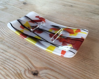Autumn colours fused glass soap dish