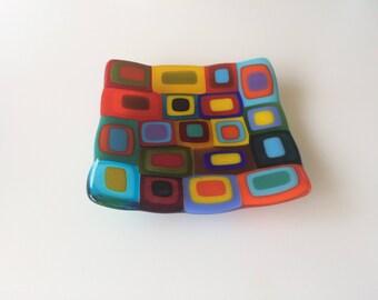 Multi coloured retro fused glass dish