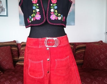 Vintage mini skirt suede red 60/70 the hippie boho style