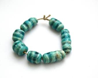 7 blue tube beads, handmade ceramic beads, textured white clay beads, jewelry supplies