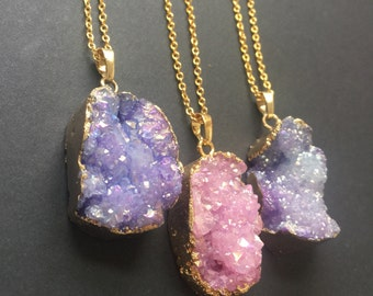 Druzy necklace Angel aura Druzy necklace Gold necklace Natural crystal Raw stone