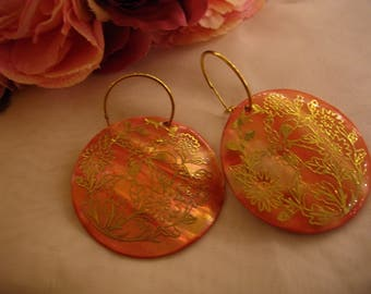 Vintage abalone shell color infused earrings with gold floral design