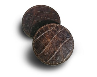 Stitched Brown Croc Coaster Set of 4 (Engraving Available)