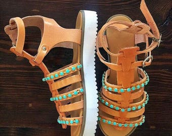 Gladiator Sandals, Greek Leather Sandals, Greek Sandals, Platform Sandals, Turquoise Sandals,  Made in Greece from 100% Genuine Leather.