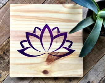Wood Wall Art, Lotus Painting, Lotus Art, Wood Lotus Sign, Lotus Home Décor, Lotus Wall Décor, Yoga Art, Zen Art, Purple Lotus, Flower Art