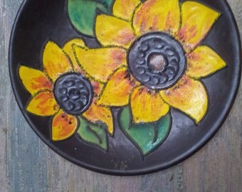 Danish large Pottery wall hanging plate with sunflowers.1960's.Scandinavian design.