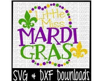Mardi Gras SVG * Little Miss Mardi Gras * Mardi Gras * Beads Cut File - SVG & DXF Files - Silhouette Cameo, Cricut