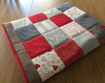 Christmas Lap Quilt, Scandi, Mini Quilt, Patchwork Play mat, Travel Quilt, Holiday Mini Quilt, Festive Sofa Throw, Quilted Fleece Throw