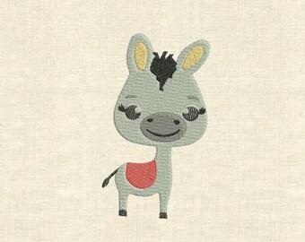 Machine embroidery design cute animals donkey