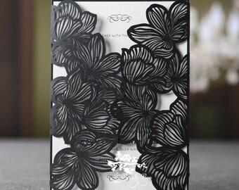 Wedding Invitation | Custom invitations | Unique invitations | Wedding stationery | Elegant invites -Floral Laser Cut Elegance