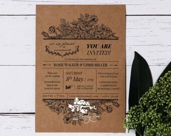 Wedding Invitation | Custom invitations | Unique invitations | Wedding stationery | Elegant invites - Hand Delivery