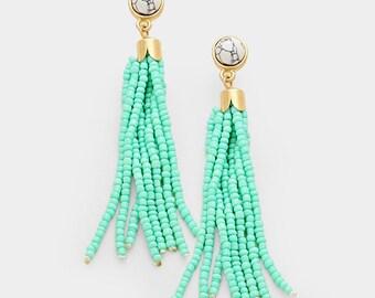 Mint Green  beaded tassel earrings