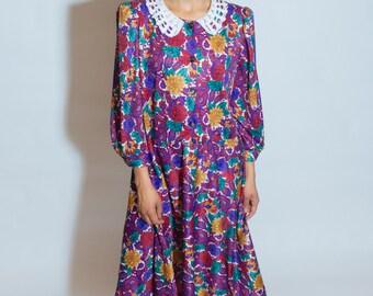 VINTAGE 80s GRANNY Floral Dress