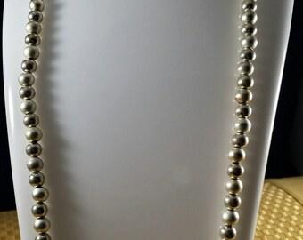 vintage Napier silver necklace, Napier silver beaded necklace, Napier necklace, Vintage costume jewelry, Silver three toned beaded necklace