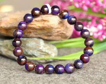 スギライトNatural Genuine Blue Purple Sugilite Stretch Finish Bracelet Round beads 9mm 03762