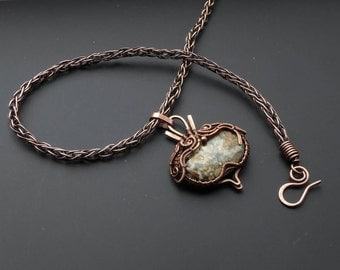 Ocean Jasper pendant, wire jewelry, copper pendant, wire wrapped pendant, gift for her, viking knit jewelry, knitted jewelry, copper chain