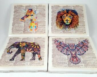 Animal Print/Tile Coaster/Elephant Coaster/ Lion Coaster/Dictionary Art/Animal Art Print/Drinkware/Drink Coaster/Animal Lovers/Animal Art