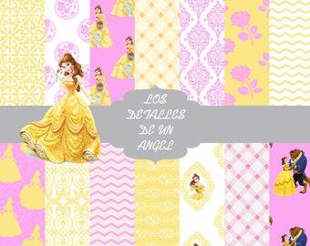 Digital papers of La Bella y La Bestia Kit / Kit of digital papers of the Beauty and the Beast