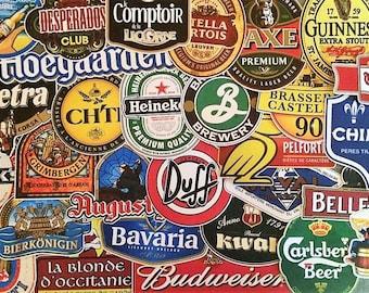 Lot de stickers autocollants marques de biére , beer , heineken , duff , logo , déco bar