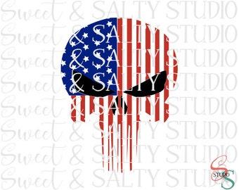 usa flag punisher skull digital file